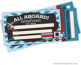Train Ticket Birthday Party Invitations (Set of 25) Envelopes Included, Fill in Style