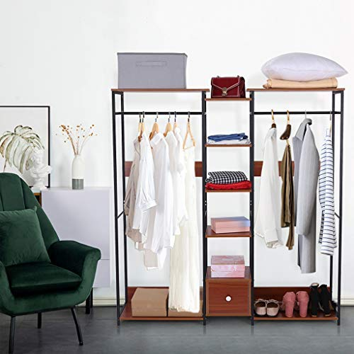 TOUNTLETS Bedroom Clothing Rack With ShelvesCoat Rack Free Standing Closet Organizer Wardrobe for Hanging Clothes Heavy DutySimplenss Modern Armoire Wardrobe Closet Vertical Cloakroom Rack Brown
