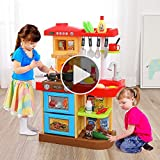 TEMI 34 PCS Kids Kitchen Playset, Play Kitchen Toys for Toddlers 2-5, Pretend Play Set with Pots,...