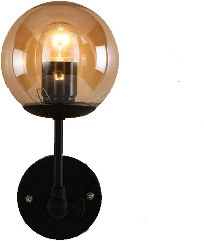 LL Wall Lamp Modern Creative Art Minimalist Retro Industrial Glass Ball für Restaurant Clothing Store Bedroom Lighting,schwarz,28x20cm