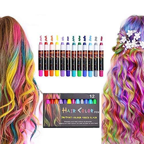 Tiza para el cabello, 12 colores temporales, lavable, color brillante, para niñas, niños, adolescentes, Halloween, Año Nuevo, Navidad..