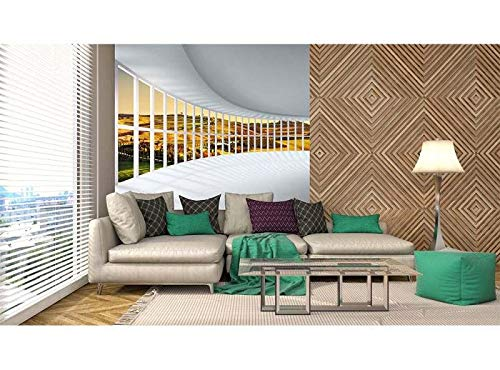 Vlies Fotobehang ZAAL MET UITZICHT | Niet-Geweven Foto Mural | Wall Mural - Behang - Reusachtige Wandposter | Premium Kwaliteit - Gemaakt in de EU | 225 cm x 250 cm