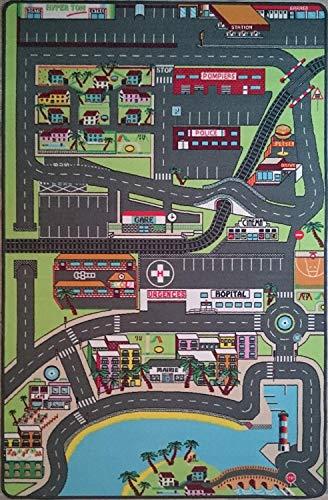 TAPITOM Alfombra de la Ciudad para los niños Sala de Juegos 130 x 200 cm – Circuito de la Ciudad para los Coches pequeños
