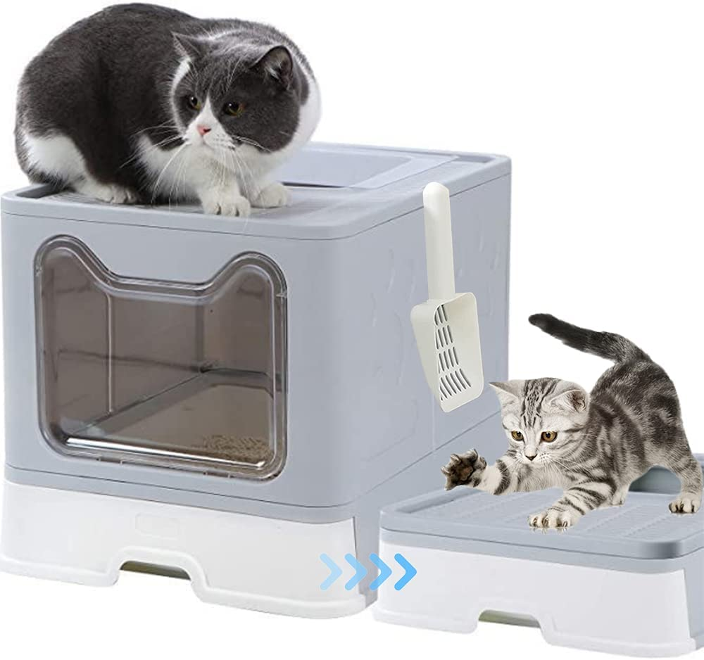 Top Entry Our shop OFFers the best service Cat Litter half Box with S Scoop Plastic Foldable Large
