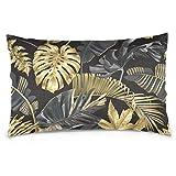 jonycm Couch Cushions Funda De Cojín De Almohada De Oficina Tropical Gold Y Black Palm Leaves Decoraciones Únicas con Cremallera 60X40Cm Moderno Regalo Apartamento Sofá Colorido Duradero