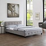 CARO-Möbel Polsterbett Iowa Bettgestell 140 x 200 cm Doppelbett Designbett inklusive Lattenrost Textilbezug in grau - 2