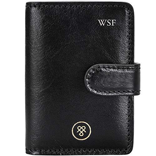 Maxwell Scott® personalizado piel de color negro mini bolsillo agenda (Alvito)