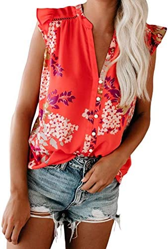 Eytino Women Summer V Neck Floral Print Tank Tops Casual Loose Ruffle Sleeveless Blouse Shirts product image