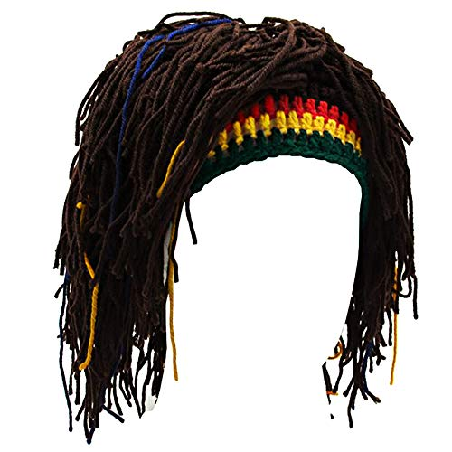 Kirmoo Wig Beard Hats Handmade Knitted Warm Winter Caps Funny Party Mask Hair Beanies (Brown Beanie)