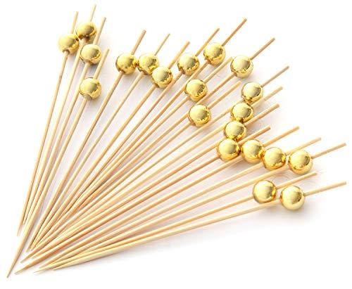 PuTwo Handgefertigte Cocktailspieße aus Holz, 100 Stück, Zahnstocher, Partyzubehör – Gold Pearl