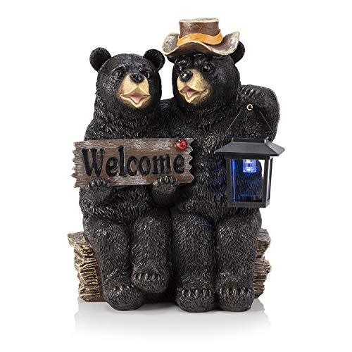 Alpine Corporation 15' Tall Outdoor Bear Couple with Lantern and Welcome Sign Statue with Solar LED Light Yard Art Decoration
