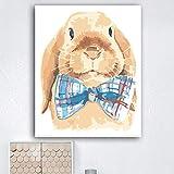 wekeke Bunny In A Bow Tie Picture DIY Pintura Digital para Adultos por nmeros Pintura sobre Lienzo para la decoracin de la habitacin del hogar Art Picture-40X50Cm Sin Marco