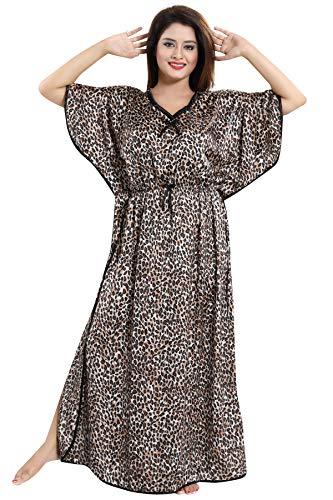 Fashigo Women's Stylish Tiger Print Nighty/Night wear/Night Gown/Night Dress Black-Brown