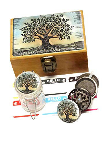 Tree of Life Bamboo Stash Box Mini Set - Includes Metal Grinder, Glass Storage Jar, label