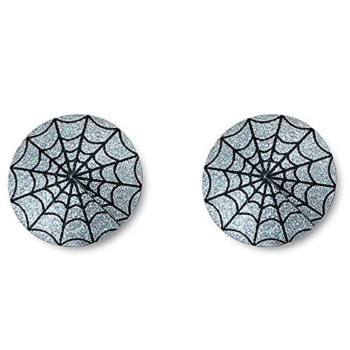 Aeromdale Pegamento adhesivo para la cubierta del pezón, no reutilizable con purpurina para el pecho, pegatina de Halloween – tela de araña – 2 pares