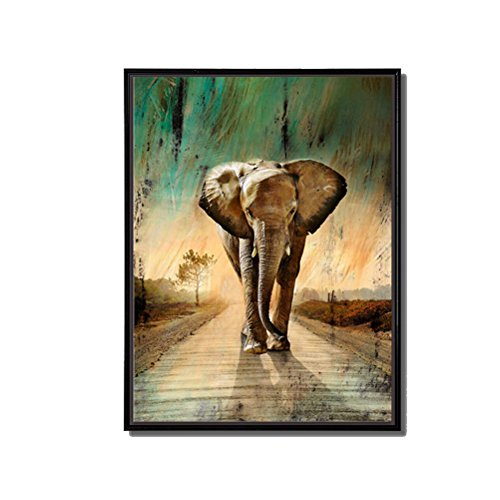 Animal Painting  Wall Art Elephants Waking Down Green Grassland Road Picture Prints on Canvas with Black Floater Frame Ready to Hang for Home Living Room Bedroom Decor Elephant1 12x16inch