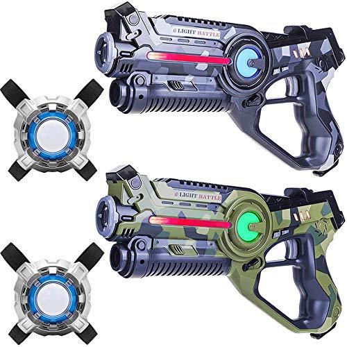 Light Battle Active Lasertag Set - 2X laserpistole (camo grün, camo grau) + 2 Weste - LBAPV22256