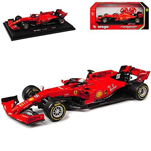 Ferrari SF90 Nr 5 Sebastian Vettel Saison 2019 Matt Rot mit Sockel 1/18 Bburago Modell Auto