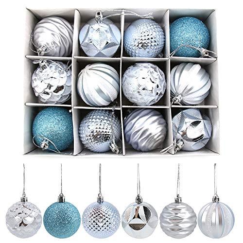 Homo Trends - Bolas de Navidad (24 unidades, 6 cm), diseño de bolas de Navidad inastillables, decoración para árbol de Navidad, decoración para colgar ventanas, color azul