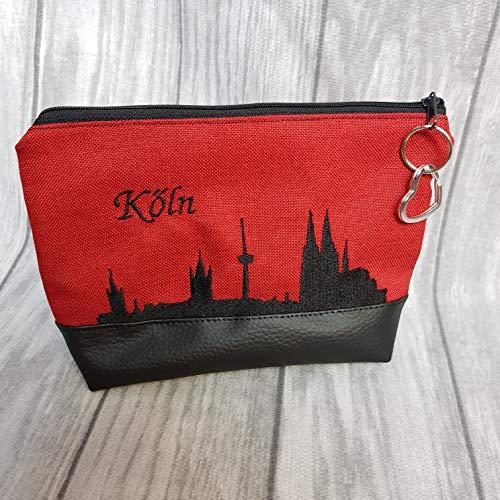 Kosmetiktasche Kölner Dom Skyline Bag Schminktasche Utensilientasche Kleinigkeiten Tasche mit Anhänger