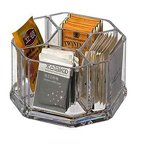 Scatola porta bustine the in plastica con 5 scomparti,Porta bustine da tè in acrilico, caffè,biscotti, zucchero borsa custodia Guest Room scatole, Acrilico, Clear, L16*W16*H8cm YTBH-002