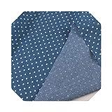 Bastelstoff   Bedruckter Star Dot Denim Blue Jeans Stoff