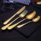 WHWH Juego de Cubiertos,Gilt Western Steak Cutlery Mirror Polished Dinnerware Kitchen Tableware-Gold-Plated 4-Piece Set