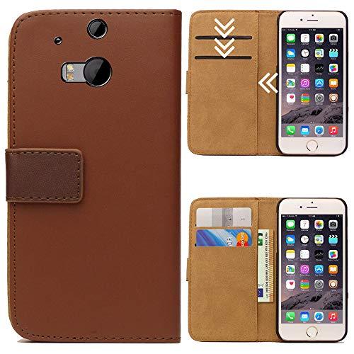 Roar Handytasche für HTC One M8, Flipcase Tasche Schutzhülle Handyhülle für HTC One M8 Bookcase Wallet mit Magnet, Braun