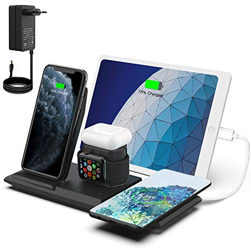 NANAMI Kabelloses Ladestation, QI Wireless Charger, 5 in 1 drahtlose Ladegerät (mit 36W DC Netzteil) für Apple Watch 6/5/4/3/2, AirPods Pro,iPhone 12/SE 2/11/XS Max/XR/X/8/8 Plus,Galaxy S21/S20/S10/S9