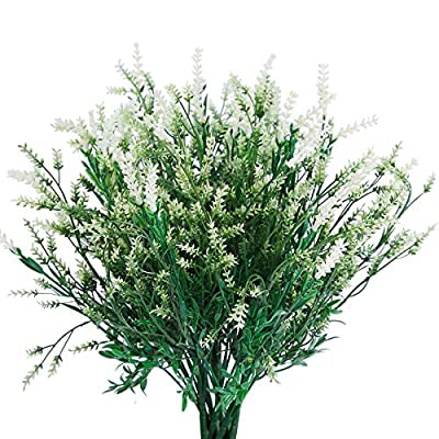 Artificial Flowers Plants for Outdoor Planters Window Box Fall Winter Artificial Flowers Outdoor for Decoration Flower Pot Stand Fake Bushes (7 Fake Flowers Bundle White Lavender) Fack Flowers