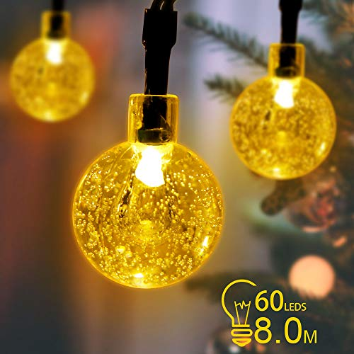 PopHMN Waterproof Solar String Lights, Solar Power Crystal Ball Fairy Lighting Holiday Decoration for Outdoor Garden Home (C)