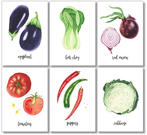 Vegetables Art Prints - Kitchen Wall Decor - Watercolor - Farmhouse Decor - Set of 6-5x7 - Unframed