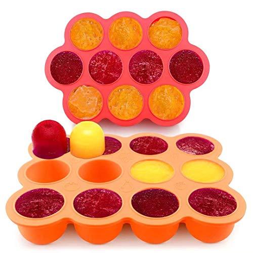 Silikon Babynahrung Aufbewahrung Gefrierbehälter Einfrieren von Alle Sorten,75ml/Abteile