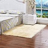 YIWOYI - Tappeto peloso artificiale in pelle di pecora per soggiorno, camera da letto, tappeto in pelliccia tinta unita, per camera da letto, lavabile, 60 x 60 cm, colore: giallo chiaro