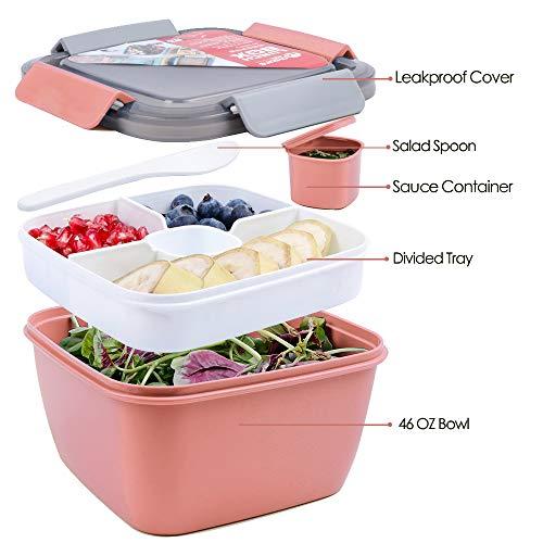 shopwithgreen Salatbehälter Lunch-Behälter Bento für Mittagessen, 3 Fächer für Salat und Snacks, Salatschüssel mit Dressingbehälter, Auslaufsicher, Mikrowellengeeignet 1300 ml Hell Rosa