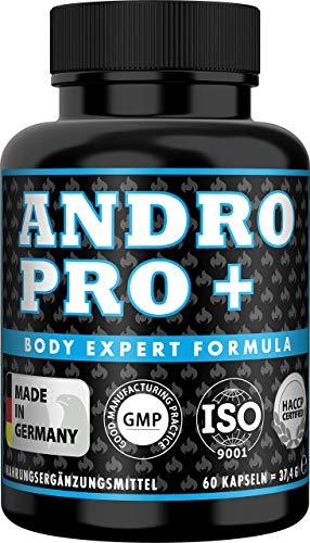 ANDRO GAIN Pre Workout Testosteron Booster + Östrogen Blocker, für extremen Muskelaufbau mit Tribulus Terrestris hochdosiert, 2 Monats Vorrat, 60 Kapseln