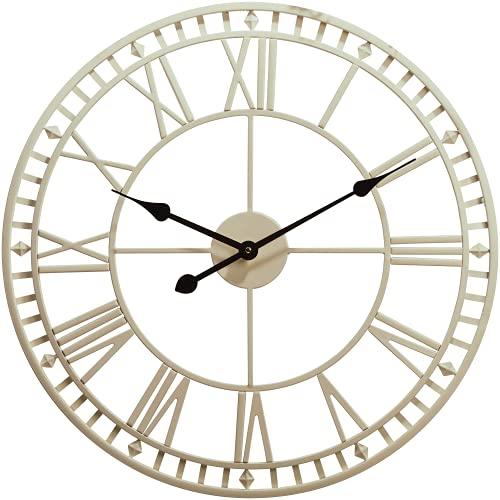 Reloj de pared para jardín al aire libre, grande, resistente a la intemperie, con números romanos, diámetro 60,3 x 4 cm