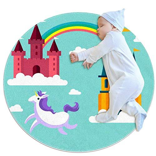 Castle Rainbow Unicorn Tapis aventure bébé Tapis modernes doux ronds pour les décorations de salle de plancher 80x80cm