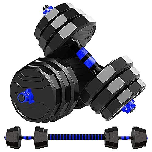 MOJEER ダンベル 可変式【最新進化版・3in1】10kg 20kg 30kg 40kg 2個セット12角形構造 バーベルにもなる ダンベル 無臭素材 静音JX (15kg×2個セット/blue)