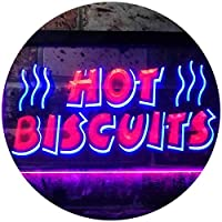 Hot Biscuits Dual Color LED看板 ネオンプレート サイン 標識 青色 + 赤色 300 x 210mm st6s32-i0117-br