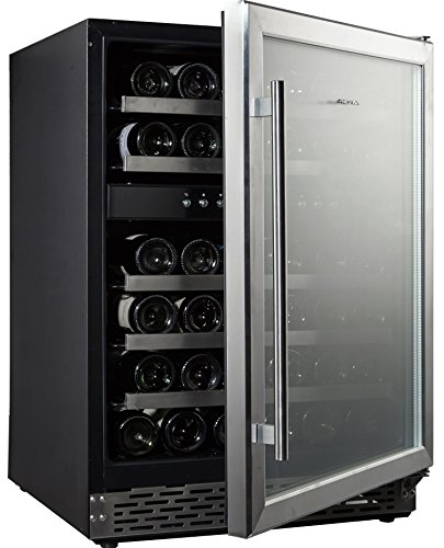 Phiestina 45 Bottle Wine Cooler 23 Inch Dual Zone Built-in or Freestanding Wine Refrigerator with Compressor Cooling System