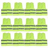 Chaleco Alta Visibilidad (Pack de 12) - Grande (54x67cm) Chaleco Seguridad Amarillo con Tiras Grises Reflectantes para Correr, Ciclismo, Agente de Tránsito, Seguridad, Hombres y Mujeres, Policía