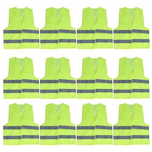 Warnweste (12er Set)- Schutzweste Signalweste - (54x67cm) Große Starke Gelbe Sicherheitsweste mit Grauen Reflektierenden Streifen für Verkehrswärter, Laufen, Motorrad, Männer, Frauen, Polizei-Weste