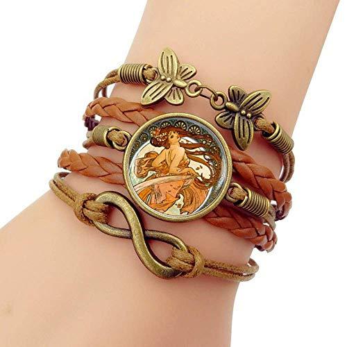 Gewebtes Armband, braunes Seil Sexy Kleid Schönes Mädchen Charakter, Zeit Edelstein Armband Mehrschichtige handgewebte Glaskombination Schmuck Damenmode Schmuck im europäischen und amerikanischen