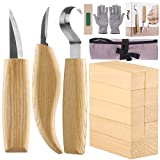 Fuyit 17pcs Wood Carving Set Wood Carving Beginner Kit Includes Carving Blocks, Hook Knife, Whittling Knife, Detail Knife, Cut Resistant Gloves, Carving Knife Sharpener for Spoon Bowl Cup Kuksa