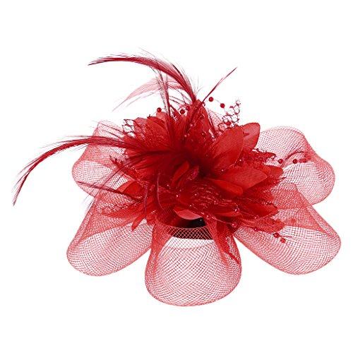 Lunji Bibi Mesh, Fascinator Mini Chapeau Femme Mariage Accessoires pour Cheveux (Rouge)