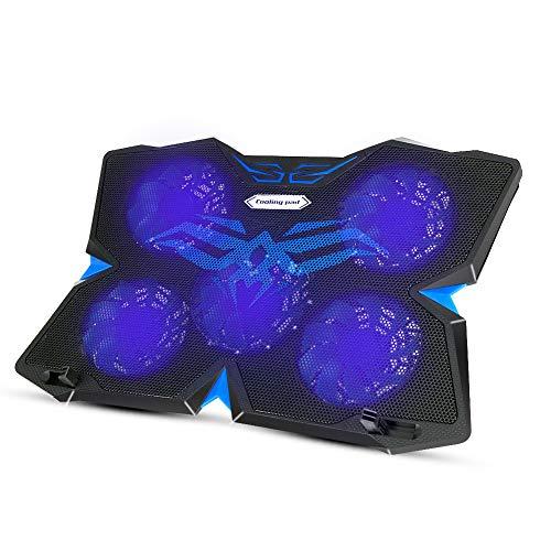 Laluztop Laptop Kühler für 12-17 Zoll,Ultra Leise Notebook Kühler mit 5 Ruhige Lüfter und LEDs,2 höheverstellbar,2 USB-Anschlüssen,verstellbare Windgeschwindkeit Laptop Cooling Pad für Gamer Gaming