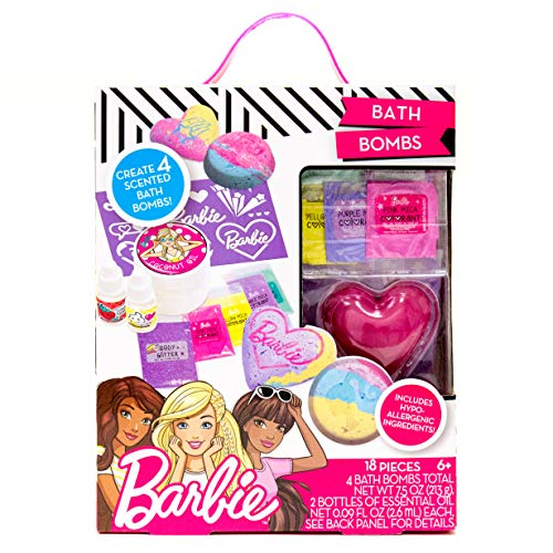 Barbie Make Your Own Bath Bomb Kit by Horizon Group USA, DIY Four Custom Colorful & Sweet-Smelling Bath Bombs, Includes Stencil, Glitter, Molds, Fragrances & More, Pink, Yellow, Teal & Purple