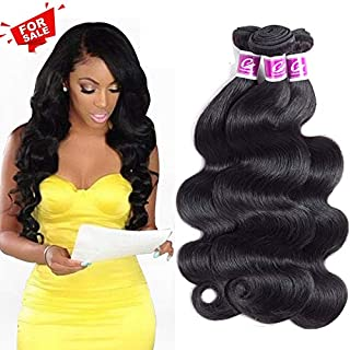 Colorful Queen 8A Brazilian Virgin Hair Body Wave Remy Human Hair 3 Bundles 100% Unprocessed Human Hair Extensions Brazilian Hair Weave Bundles Natural Black Color Body Wave 14 16 18Inch