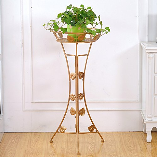 CJH Porte-fleurs de style européen en fer forgé au sol Porte-fleurs de salon intérieur Porte-fleur d'orchidée vert radis simple ( Color : Gold )